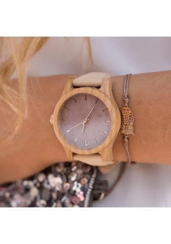 Béžovo-fialové drevené hodinky s koženým remienkom pre dámy