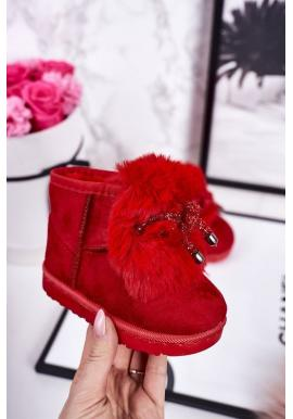 Semišové dievčenské oteplené snehule v červenej farbe