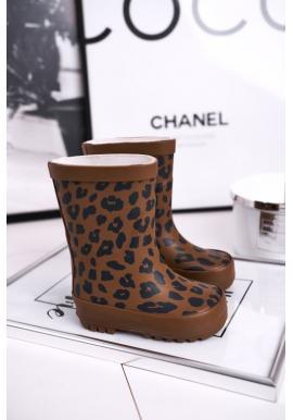 Hnedé leopardie gumáky pre dievčatá