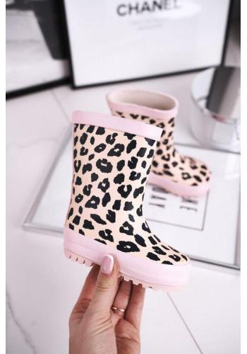 Štýlové ružové leopardie gumáky pre dievčatá