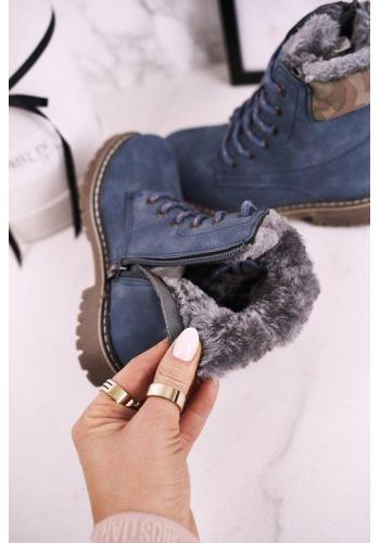 Modré detské oteplené čižmy