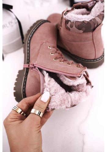 Ružové oteplené čižmy pre deti