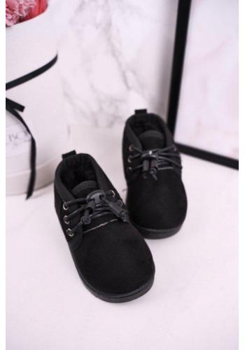 Čierne sťahovacie oteplené čižmy pre chlapcov