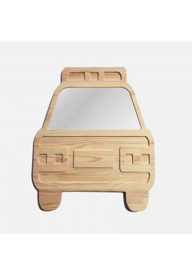 Nerozbitné drevené zrkadlo v podobe auta do detskej izby