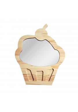 Veľké drevené zrkadlo v podobe cupcaku