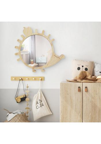 Drevené veľké zrkadlo v podobe ježka do detskej izby