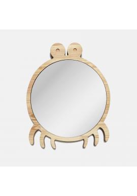 Drevené veľké zrkadlo v podobe kraba do detskej izby