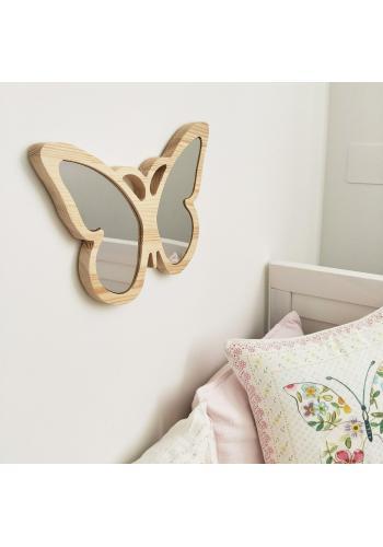 Drevené nerozbitné zrkadlo v podobe motýľa pre deti