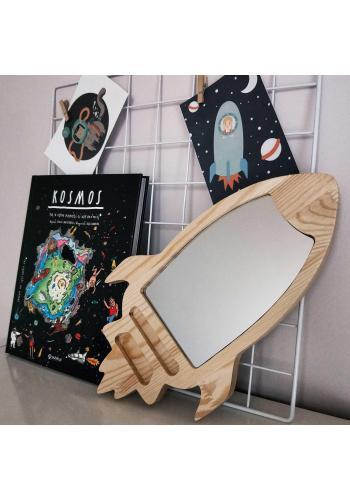 Detské nerozbitné drevené zrkadlo v podobe rakety
