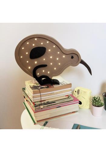 Detská drevená lampa v podobe vtáka kivi