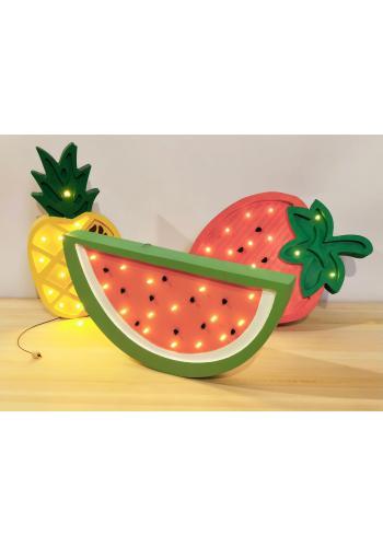 Drevená lampa v podobe vodného melóna