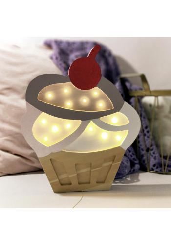 Lampa z dreva v podobe cupcaku do detskej izby