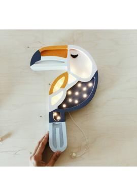 Detská drevená lampa v podobe tukana