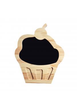 Drevená kriedová tabuľa v podobe cupcaku pre deti