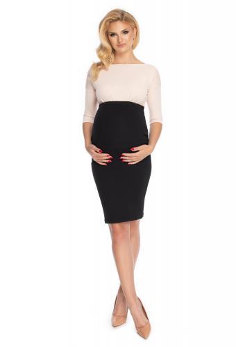 Čierna elegantná tehotenská sukňa klasického strihu v zľave