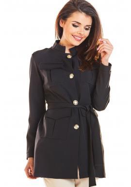 Dámsky módny plášť vo vojenskom štýle v čiernej farbe