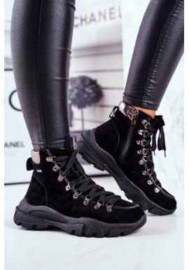 Čierne dámske trekingové topánky s hrubou podrážkou Big Star
