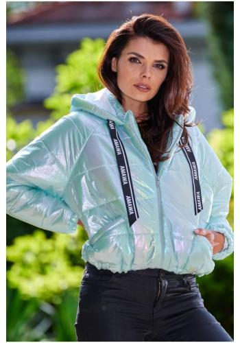 Dámska holografická bunda s oversize strihom v mätovej farbe