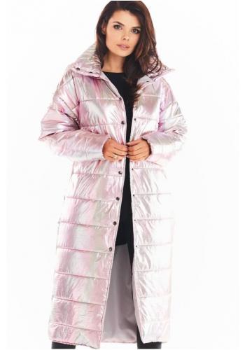 Ružová dlhá holografická bunda s prešívaním pre dámy