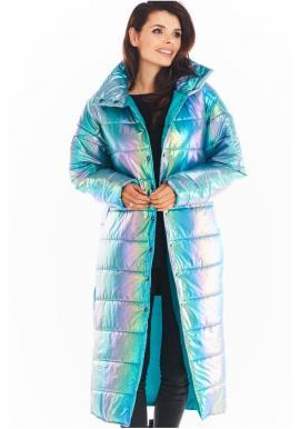 Dámska dlhá holografická bunda s prešívaním v modrej farbe