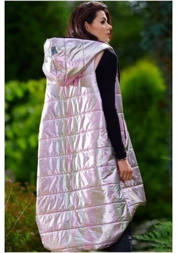 Dlhá dámska holografická vesta ružovej farby s prešívaním