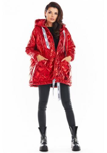 Červená prešívaná bunda s oversize strihom pre dámy