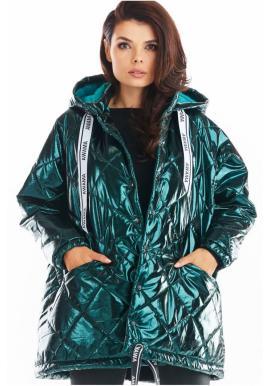 Prešívaná dámska bunda zelenej farby s oversize strihom
