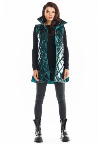 Dámska prešívaná vesta s vysokým golierom v zelenej farbe
