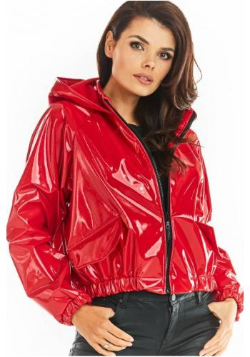 Červená vinylová krátka bunda s kapucňou pre dámy