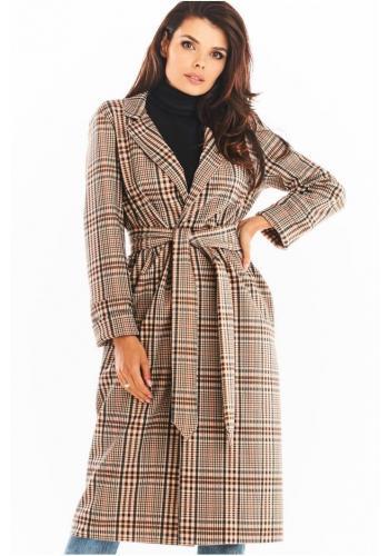 Hnedý dlhý károvaný kabát s opaskom pre dámy
