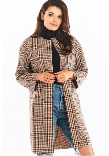 Károvaný dámsky kabát hnedej farby bez goliera
