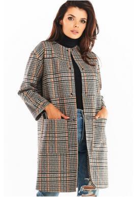 Dámsky károvaný kabát bez goliera v tmavomodrej farbe