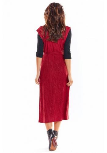 Dámska dlhá vesta so zapínaním v bordovej farbe
