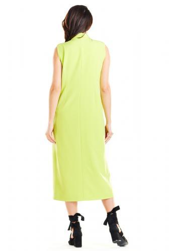 Limetková dlhá vesta so zapínaním na gombíky pre dámy