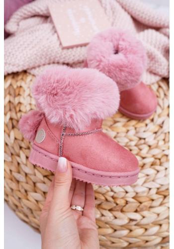 Semišové dievčenské snehule ružovej farby s kožušinou v akcii