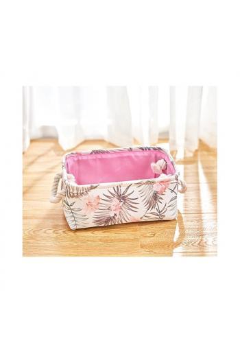 Bielo-ružový kôš na hračky s motívom kvetov vo výpredaji