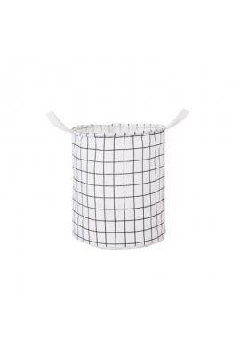 Kôš na hračky alebo bielizeň s mriežkovaným vzorom v bielej farbe