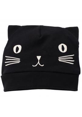 Čierna detská čiapka s mačiatkom