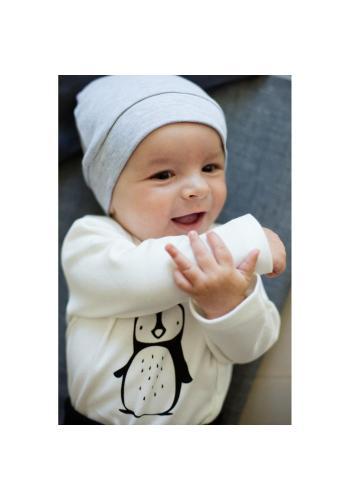 Bavlnená detská čiapka sivej farby