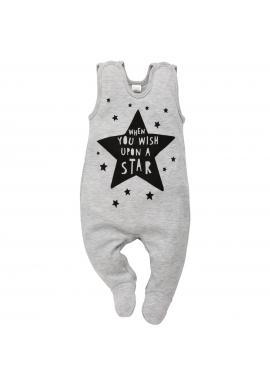 Kojenecké sivé dupačky s hviezdičkami