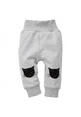 Štýlové sivé tepláky s mačiatkom na kolenách