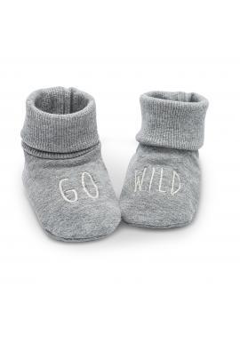 Bavlnené sivé papučky pre bábätka s nápisom