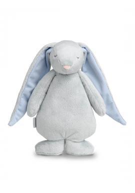 Svetlosivý svietiaci králik MOONIE so šumivým efektom s modrými uškami