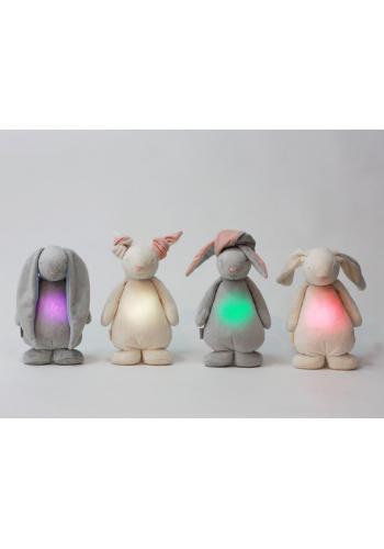 Svietiaci králik MOONIE so šumivým efektom v krémovej farbe s púdrovými uškami