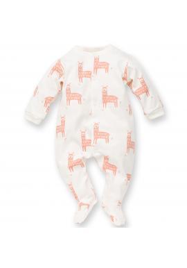 Bavlnený detský overal s veselou lamou v smotanovej farbe