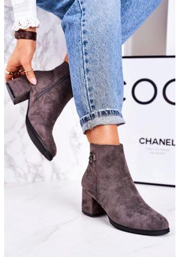 Semišové topánky pre dámy v šedej farbe