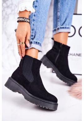 Semišové topánky pre dámy v čiernej farbe