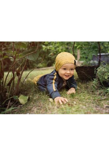 Bavlnená žltá čiapka pre deti s motívom lesných zvierat