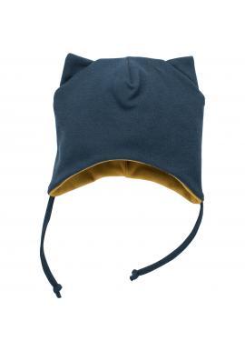 Bavlnená čiapka tmavo modrej farby s uškami