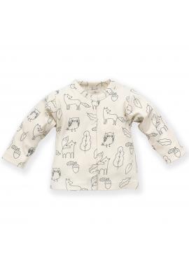 Smotanový detský svetrík s motívom lesných zvieratiek